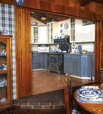 Dining In Blue Willow Kitchen; Country Woman