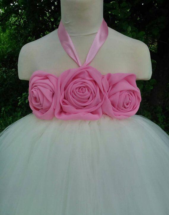 Flower girl tutu dress with pink chiffon flowers – wedding tutu dress – birthday tutu dress – party tutu dress – pageant dress – tutu dress