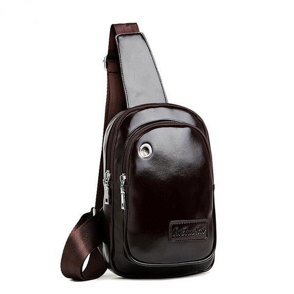Men's Fashion Sleek Premium-Quality PU Leather Crossbody One-Shoulder Backpack 2 Colors