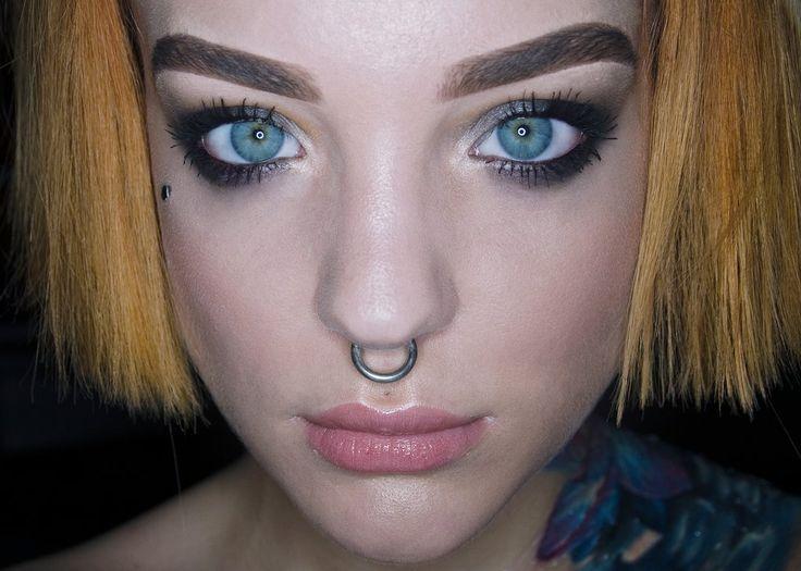 Koki9 Smokey makeup, septum, microdermal