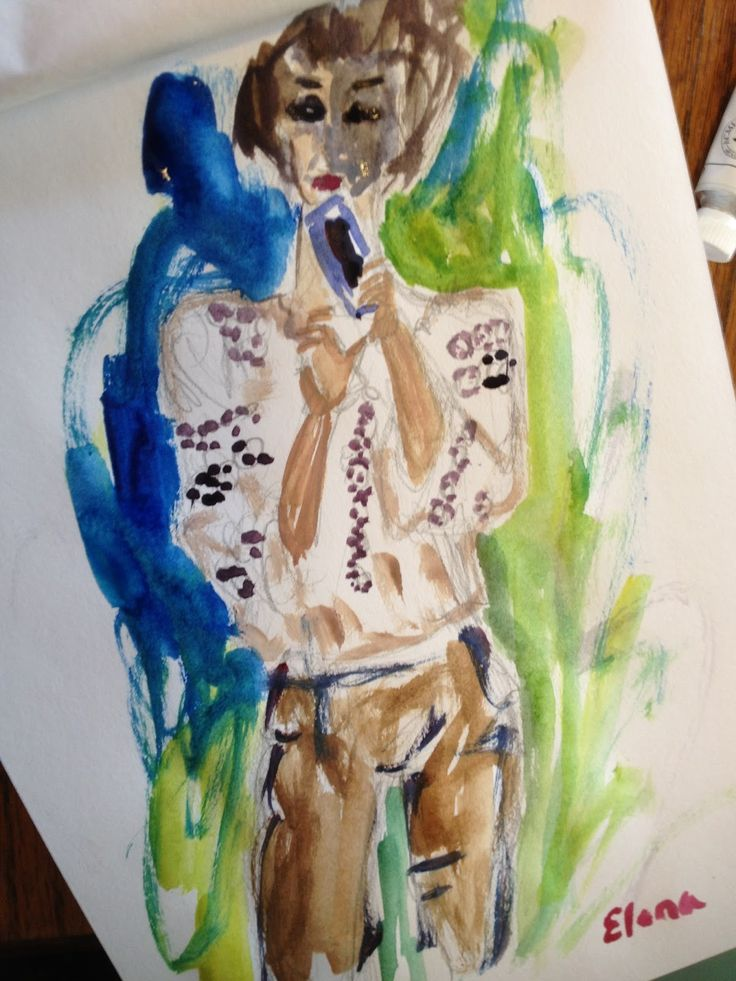 Have Watercolors Will Travel: A Romanian Blouse and an iPhone - Part Deux