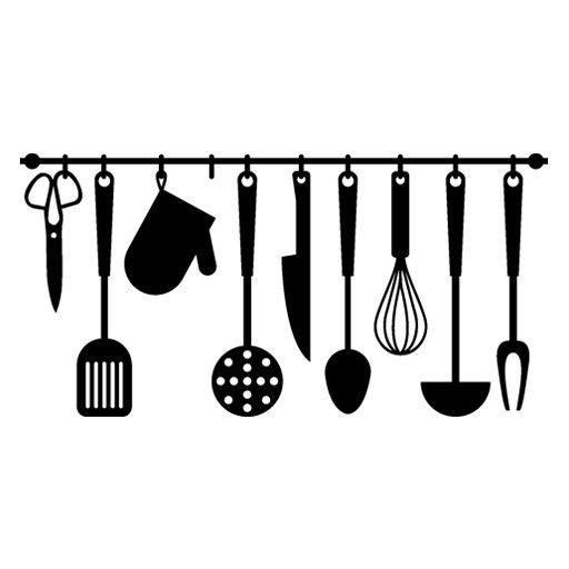 vinilo barato decorativo de utensilios de cocina o menaje colgados de una barra pegatina original
