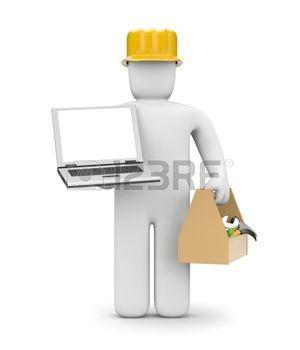 Trabajador manual. Aislado en blanco photo