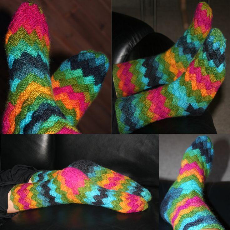 Sokker - strikket i Neverkont eller entrelac