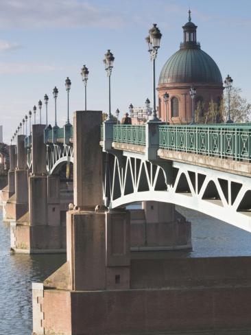 Dome of the Hopital De La Grave and Pont St-Pierre Bridge, Toulouse, France