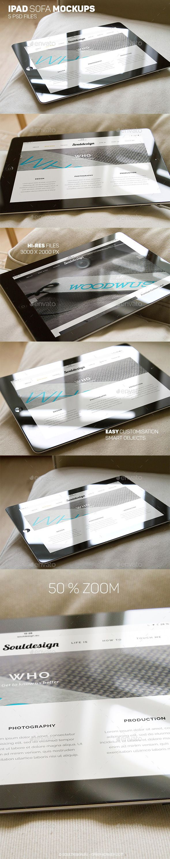 iPad Closeup Mockups Sofa — Photoshop PSD #mobile #apple • Available here → https://graphicriver.net/item/ipad-closeup-mockups-sofa/12356839?ref=pxcr