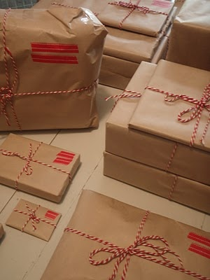 Brown paper packages; I wrap everything like this and THEN I hand paint them for Christmas! Everyone gets at least one hand-painted wrapped gift!