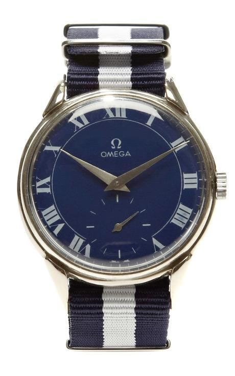 Cobalt Roman Painted Face Vintage Omega Watch by CMT Fine Watch and Jewelry Advisors for Preorder on Moda Operandi
