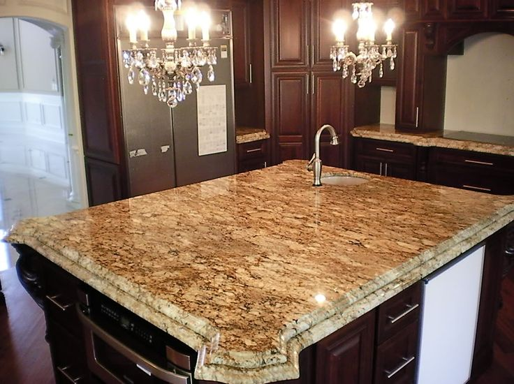 Taupe Double Ogee Edge Granite Island Kitchen Remodel