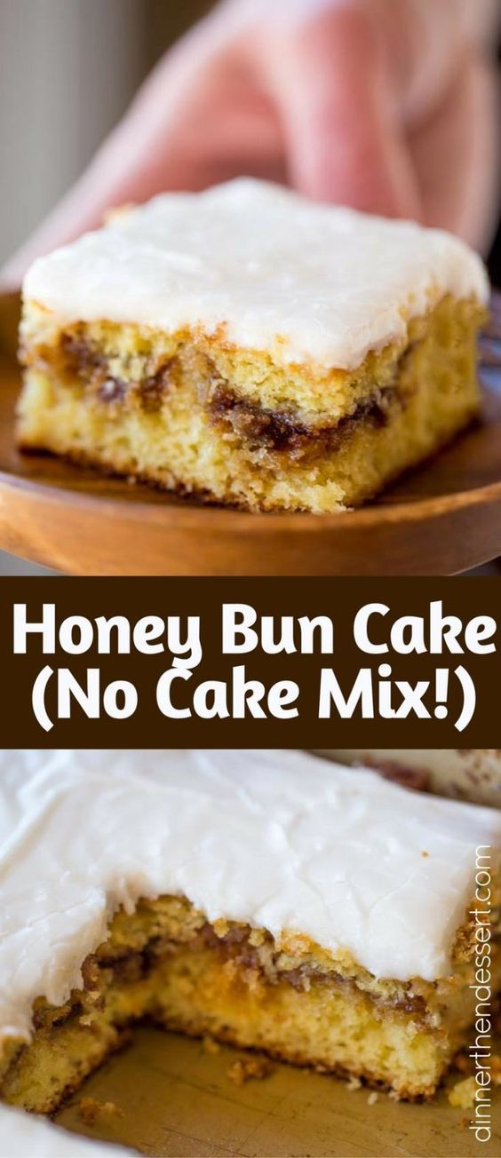 Honey Bun Cake with no cake mix, tastes like the classic honey buns you loved as a kid and like your favorite yellow cake growing up. Perfect for brunch and holiday parties.