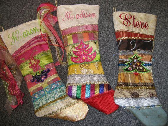 Custom Christmas stocking embroidery Handmade by LillyAnnsTrunk, $125.00