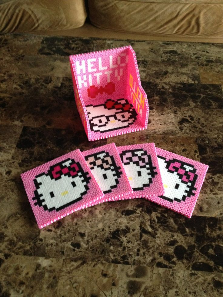 Hello Kitty Perler Bead Coaster Set. Definitely making one of these to add to the other coasters I've made.