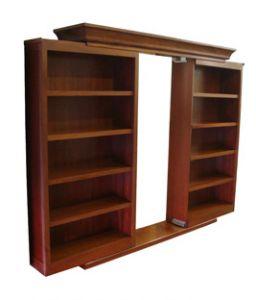 Sliding secret bookcase door; put in front of closet for hidden room---this is it!!!