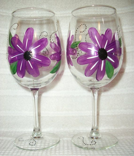 Hand Painted Violet Red Flower Wine Glasses Set by JRSisterDesigns, $20.00