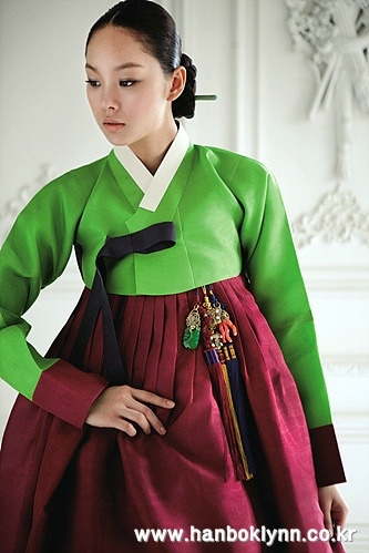 Traditional, post-wedding green and burgundy hanbok