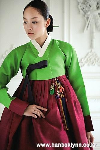 Traditional, post-wedding green and burgundy hanbok