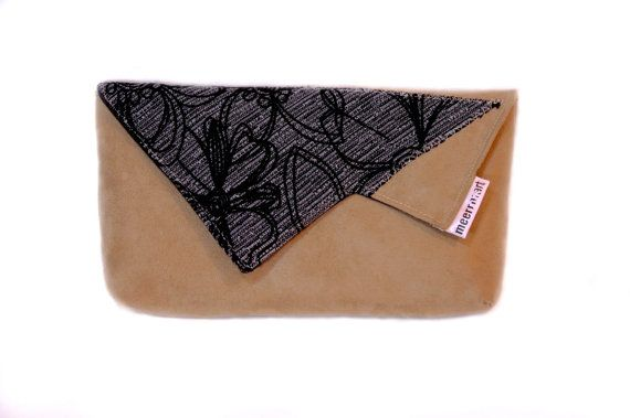 50% off Beige clutch bag with flower upholstery by meerrorart
