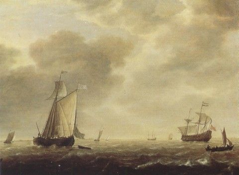 277. (Simon de Vlieger) Vessel of war and vessels exposed to the breeze [1640-5]