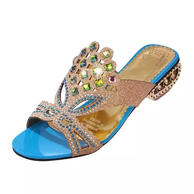 665a5125884e9 Lucyever Women Summer Open Toe Chunky Heel Sandals Fashion Bling  Rhinestones Beach Flip Flops Slip On Outside Slides Shoes Woman