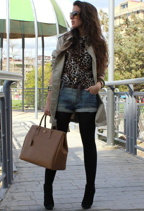Leopard Prints for Stylish Street Style Looks in 2014 - maybe with a skirt - the shorts look silly!
