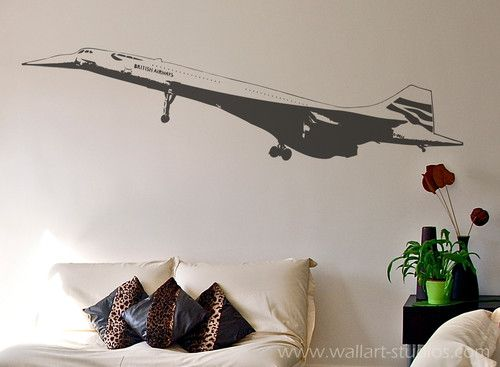 Concorde .. Probably the ultimate passenger plane ever .. never beaten and the icon of it's era .. portrayed in a wall art sticker