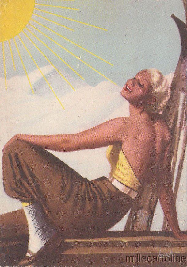 Old postcard, Boccasile sign.1937 circa Crema Solare Delial Advertising #woman #skiing #millecartoline