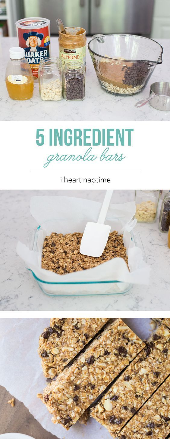 Favorite No Bake Homemade Granola Bars - made with only 5 ingredients! This is a super easy recipe that you can customize with your favorite ingredients. @iheartnaptime