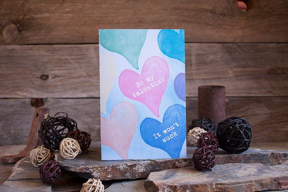 Be My Valentine Card Love Heart Funny Mature Rainbow by sylvannest, $5.00