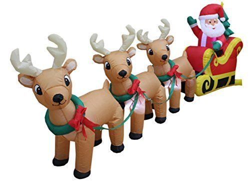 8 Foot Long Christmas Inflatable Santa on Sleigh Best Offer in 2018