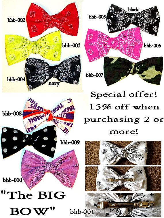 Bandana hair bow, large hair bow,hair clip, hair bow,bow, big hair bow,teens accessories,teens,womens,big bows for hair,hair accessories on Etsy, $7.50