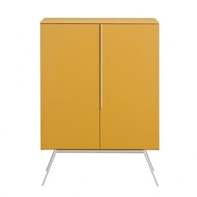 Contemporary Italian Furniture Designers | Novamobili Cleo Tall Cupboard -Its distinguishing traits are the vertical handle and metal feet that are also available in any of the #matt #lacquer colours or is possible to choose in a different colour to give a nice contrasting finish. The tall sideboard comes with two internal shelves. This #contemporary #sideboard is made in #Italy and comes with matching #furniture