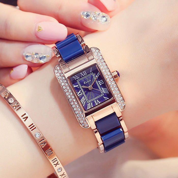 KIMIO KW6036S Luxury Ladies Quartz Watch Fashion Rhinestones Rectangle Dial Women Dress Watch at Banggood