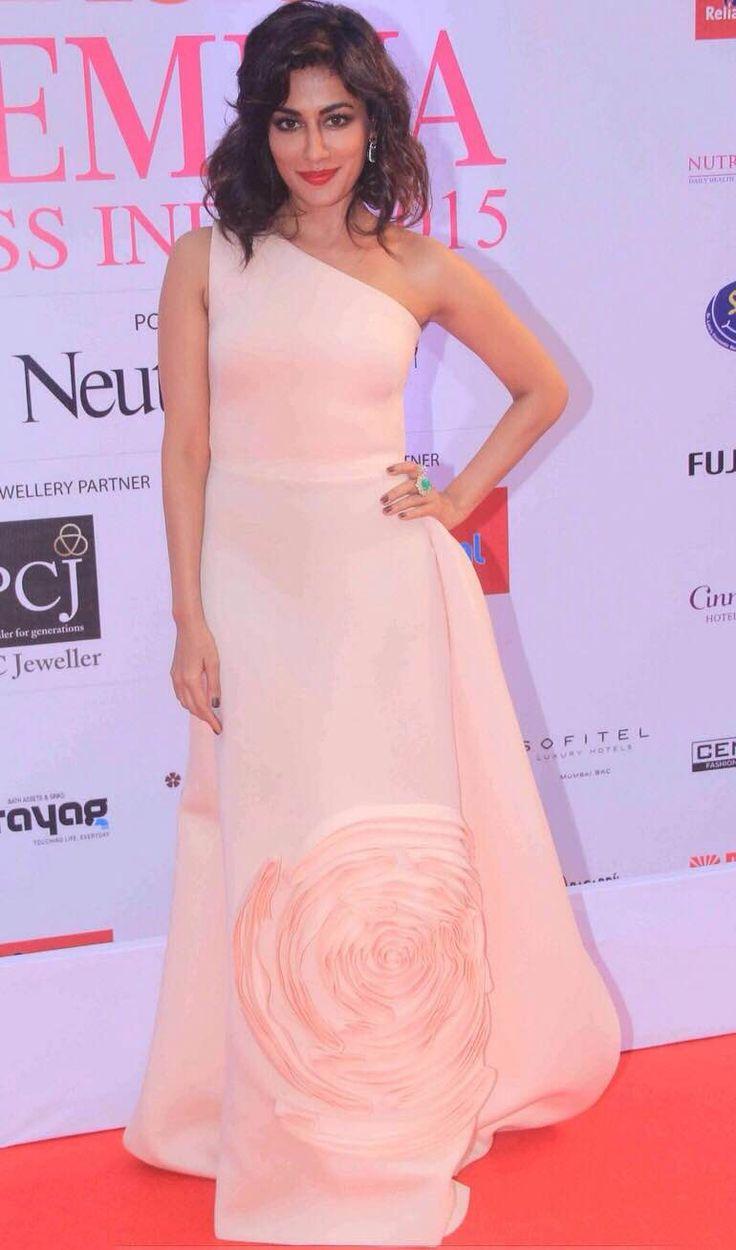 Chitrangda Singh wears a peach one-shoulder Gauri & Nainika gown to the Femina Miss India 2015 pageant. #GauriandNainika #peach #gown #ChitrangdaSingh #FeminaMissIndia