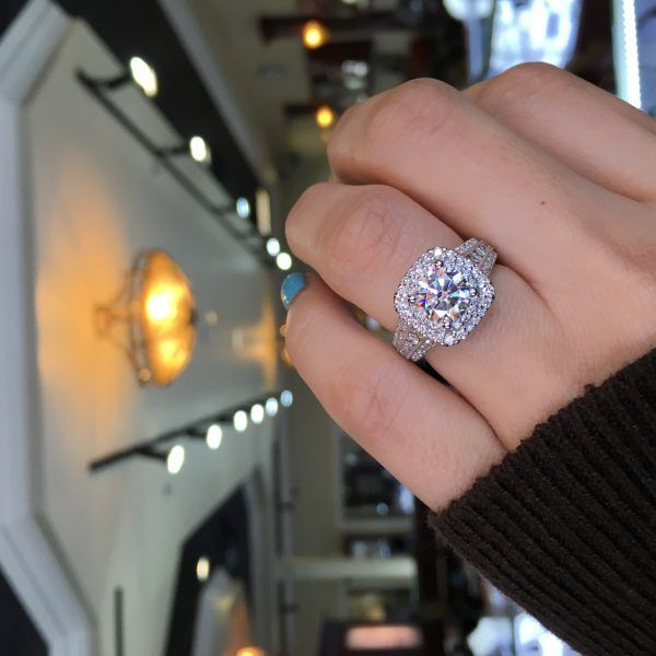 Gabriel & Co Engagement Rings Double Halo 1ctw Diamonds for the purchase of ...