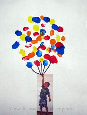 """Up"" craft with ""thumbprint"" balloons...for B's ""U"" day at school."