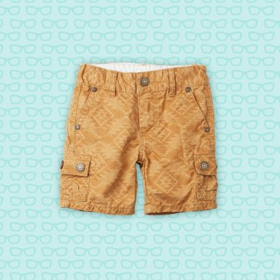 Pumpkin Patch Tile Print Cargo Shorts - 100% cotton and available in sizes 12-18m to 6 years  http://www.pumpkinpatchkids.com/