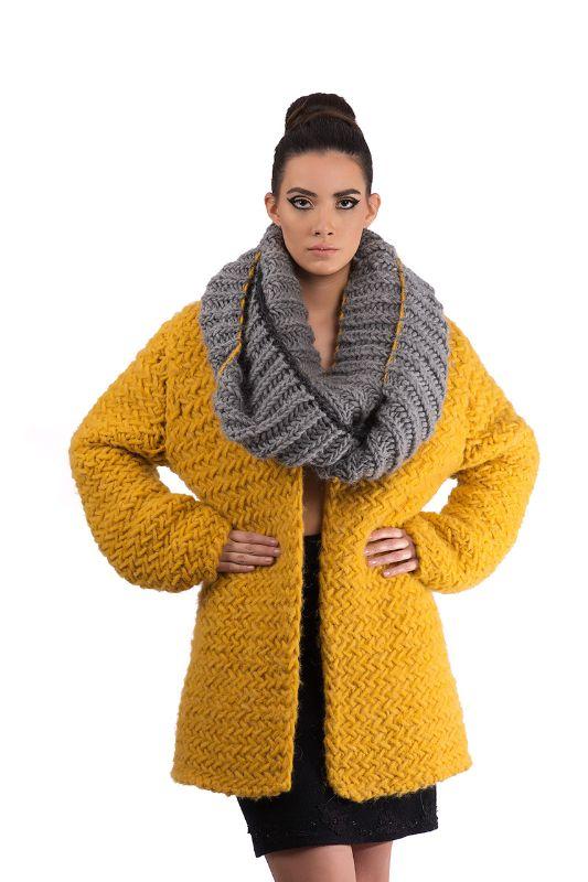 Oversized Yellow Knitted Jacket www.sabinne.com