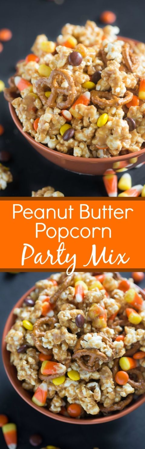 Peanut Butter Popcorn Party Mix is one of our favorite Fall snacks ...