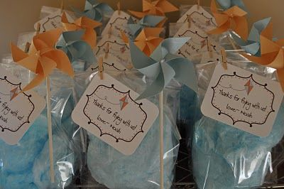 Cotton Candy favors for Kite party: Kite Party, Cotton Candy Favors, Goodies Bags, Party'S, Theme Parties, Kites Parties, Parties Ideas, Blue Kites, Baby Shower