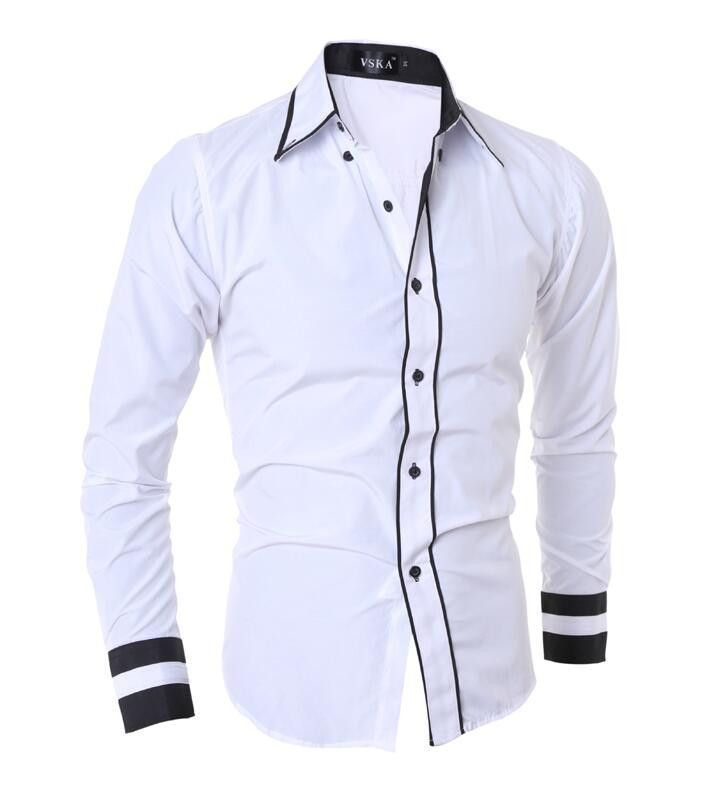 Men Shirt Fashion Brand Men's Cuff Striped Long-Sleeved Shirt Male Camisa Masculina Casual Slim Chemise Homme