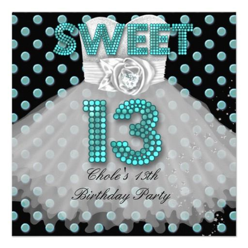 Sweet 13th Birthday Party Girls 13 Teen Teal Blue Invitation online after you search a lot for where to buyDiscount Deals Sweet 13th Birthday Party Girls 13 Teen Teal Blue Invitation please follow the link to see fully reviews...