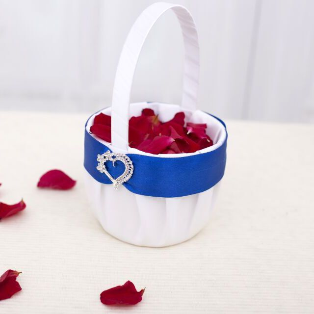 >> Click to Buy << White and royal blue Satin with Handmade Love heart Diamond Wedding Flower Girl Basket  Wedding Decorations #Affiliate