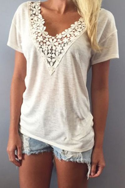 Short Sleeve Lace Spliced White T-Shirt