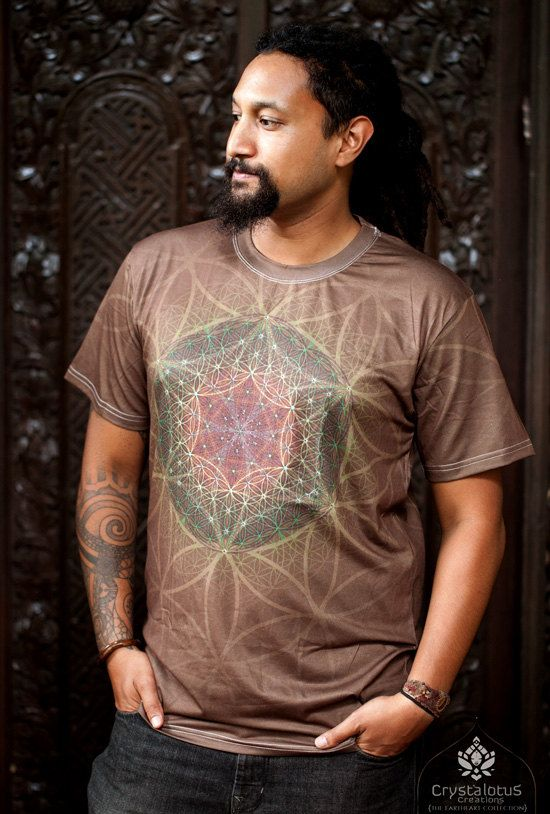 HEARTRA  Men's cotton T-shirt // Flower of by CrystalotusCreations