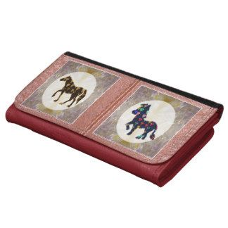 Leather Wallet Animals Horse Colorful Cartoons