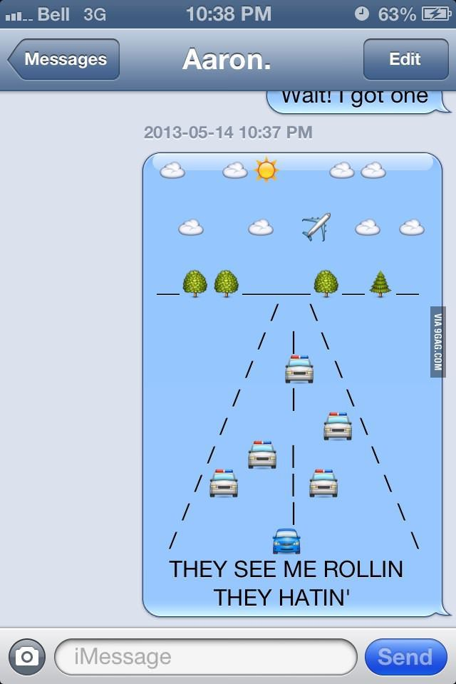 Funny iphone message with emojis
