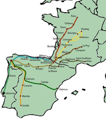 Les guides de randonnée des chemins de Saint-Jacques-de-Compostelle.