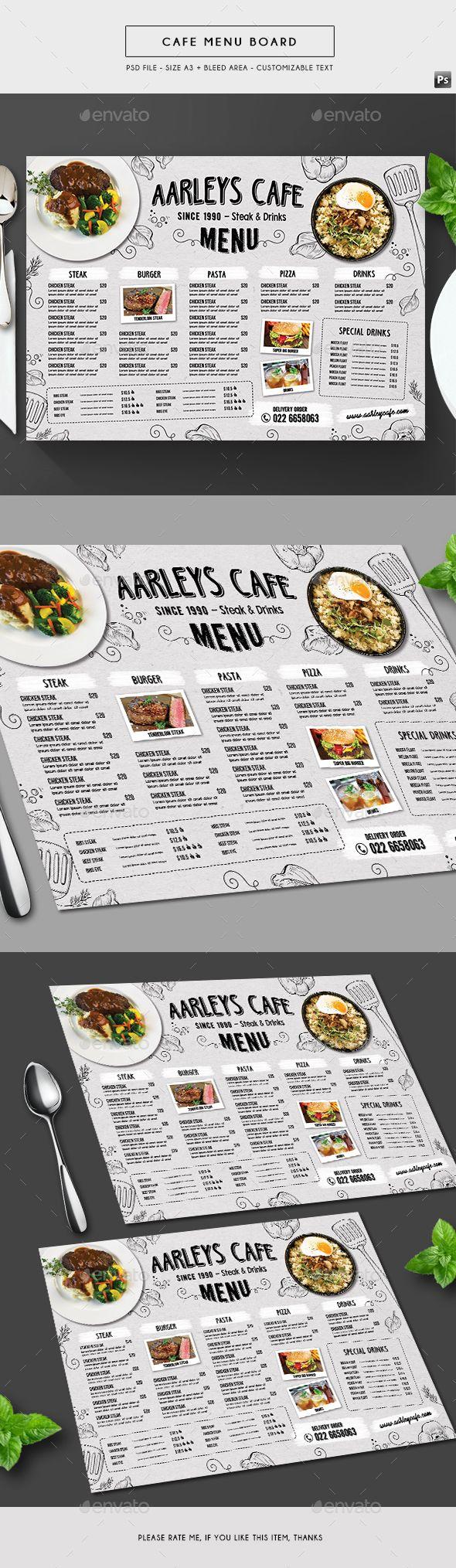 Doodle Cafe Menu Board — Photoshop PSD #restaurant menu #elegant • Available here → https://graphicriver.net/item/doodle-cafe-menu-board/19666867?ref=pxcr