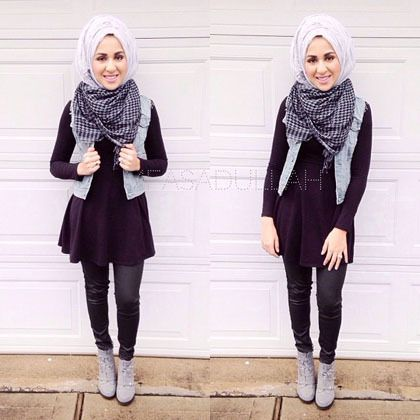 Hijab style | black | denim | scarf