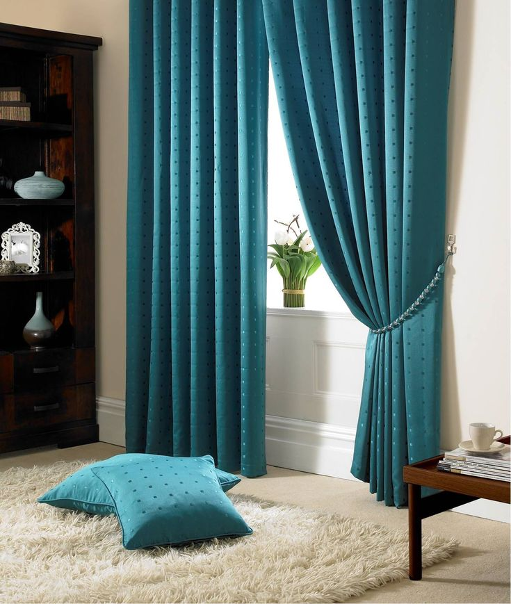 Jacquard Check Teal Curtains Lined Ring Top